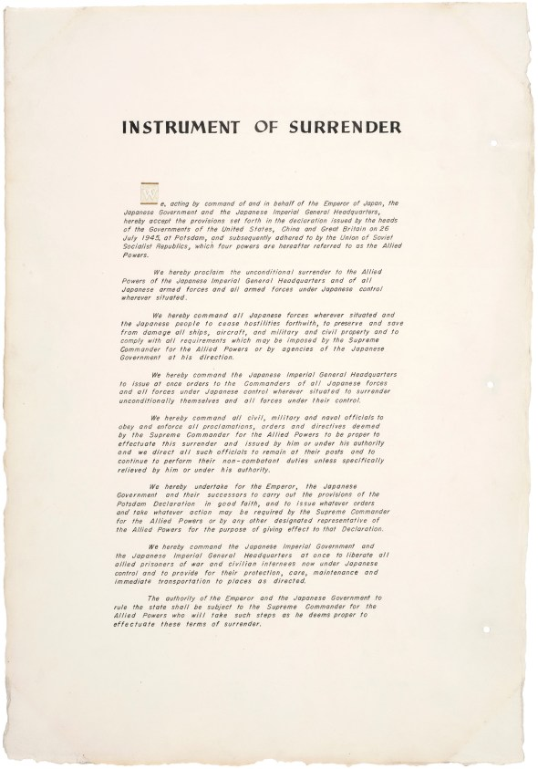 Instrument of Surrender, September 2, 1945, page 1. (Records of the U.S. Joint Chiefs of Staff, National Archives)