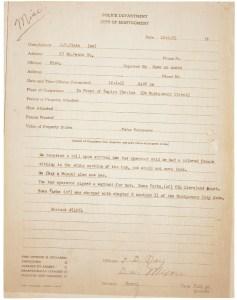 Police report from Rosa Parks's arrest, December 1, 1955. (National Archives Identifier 596074)