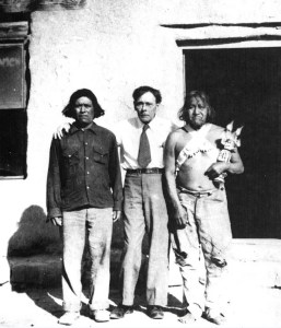 John Collier, Commissioner of Indian Affairs, with two unidentified Native American Men, c.1935. (National Archives Identifier 519179)