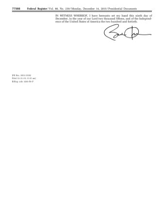 President Barack Obama's Proclamation on Human Rights Day and Human Rights Week, December 14, 2015. (Office of the Federal Register, National Archives)