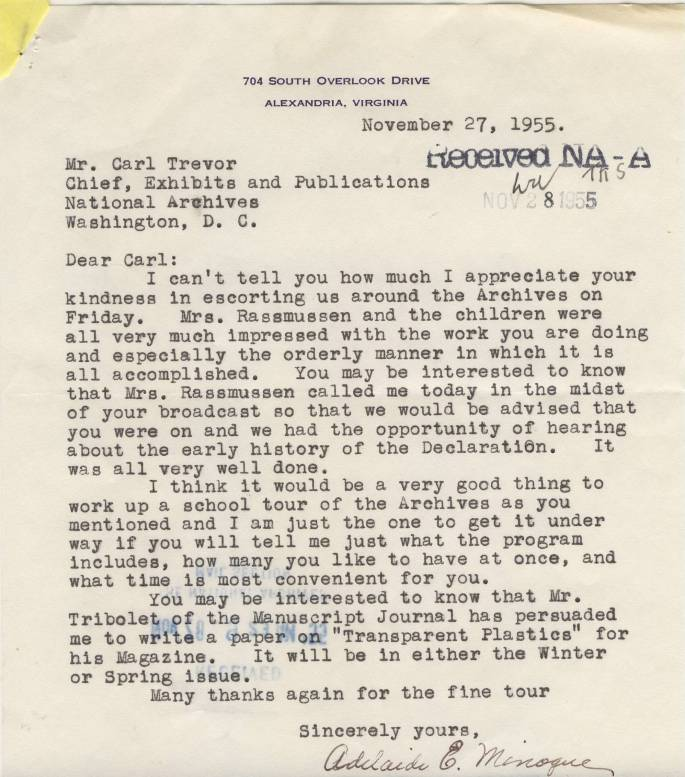 RG 64, P 84, file NEP 1954-57 - Letter from Adelaide Minogue, Nov.