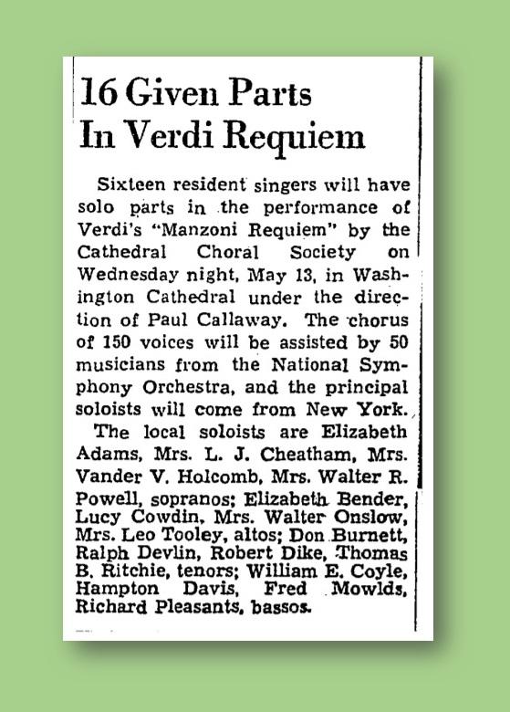 Cowdin Sings Verdi Requiem - Wash. Post. April 26, 1942