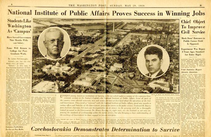 NIPA Story Washington Post 1938 p 1 RG 64 A1 1 file 776 Internships box 40