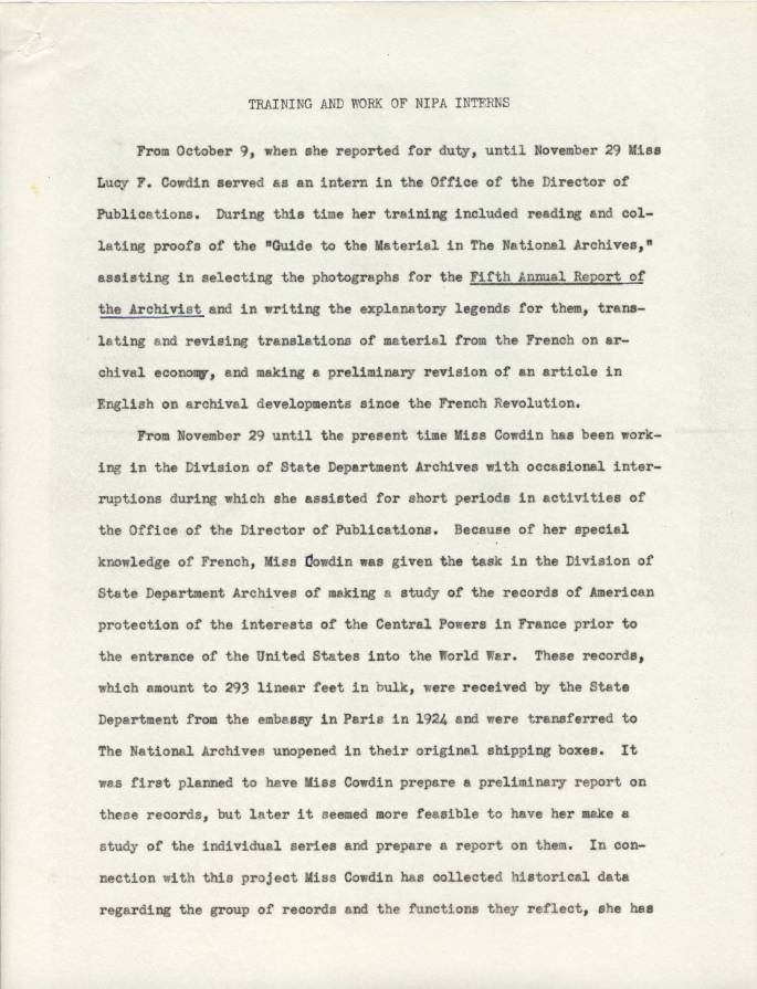Report on First Intern at Archives, 1940, p. 1 - RG 64, A1 1, file 77.6 Internships, box 40