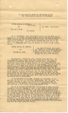 William K. Hale Indictment, 2/11/1929. (National Archives Identifier 7682552)