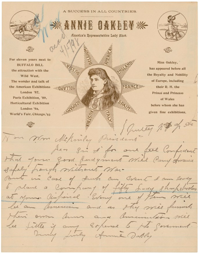 Letter from Annie Oakley to President McKinley, 1898front 05830_2005_001