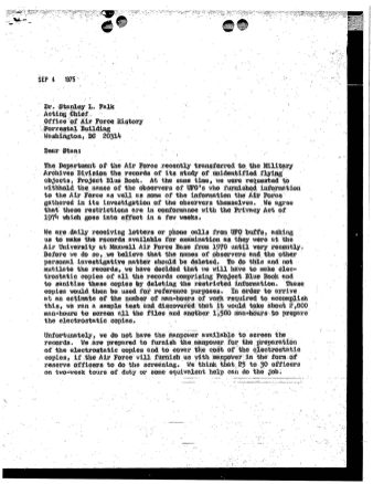 James O'Neill's letter to the Acting Chief of the Office of Air Force History, September 4, 1975. (Records of Headquarters United States Air Force, National Archives)