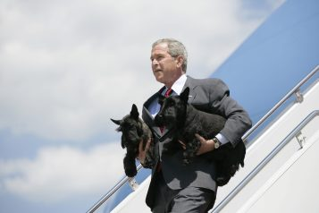 President George W. Bush Arrives at Andrews, AFB with Barney and Beazley, 8/13/2006. (National Archives Identifier 6768901)