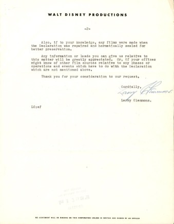 Letter from Walt Disney Productions to the National Archives, April 7, 1958. (Records of the National Archives)