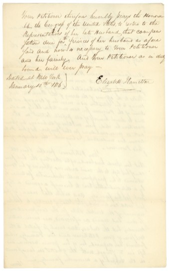 Elizabeth Hamilton's petition to Congress for a pension, 1816. (Records of the U.S. House of Representatives)