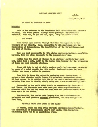 Script from the National Archives Today Show broadcast, July 4, 1956. (Records of the National Archives)