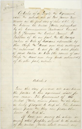 Treaty Between the United States Government and the Navajo, June 1, 1868. (National Archives Identifier 6173067)