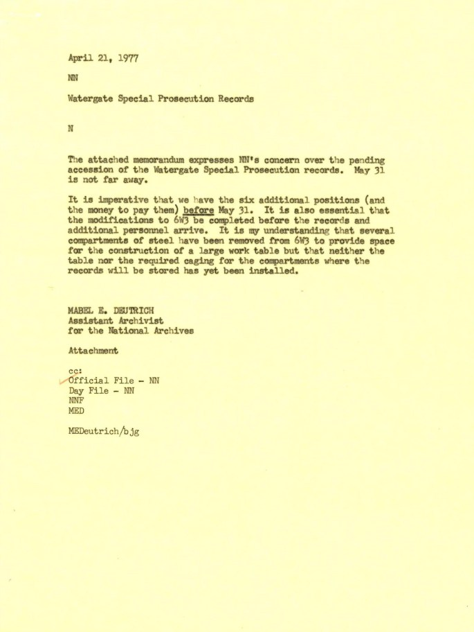 Memo from Mabel Deutrich, Assistant Archivist for the National Archives, to the Archivist, 1977