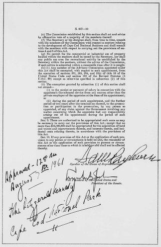 Public Law 87-126, Establishing the Cape Cod National Seashore, August 7, 1961. (National Archives Identifier 299873)