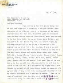 Letter from Harry Frazee to Assistant Secretary of the Navy Franklin D. Roosevelt, January 23, 1918. (Records of Naval Districts and Shore Establishments, National Archives at Boston)