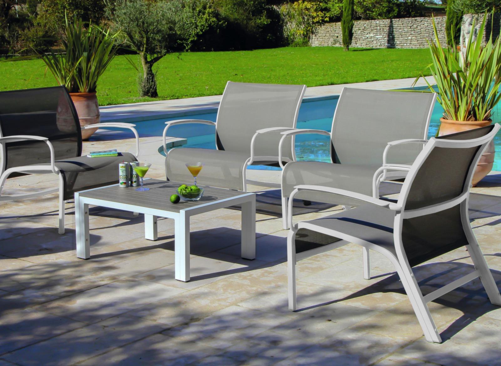 Salon De Jardin En Aluminium Linea Proloisirs | Grande Table De ...