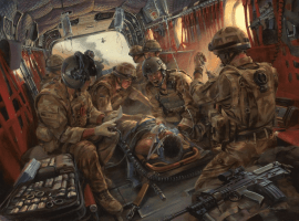 Combat Anesthesia The First 24 Hours In Safe Hands, By Stuart Brown, Oil Canvas, 2010. Art Courtesy of Stuart Brown, Skipper Press.