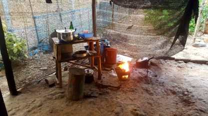 The outside cooking area