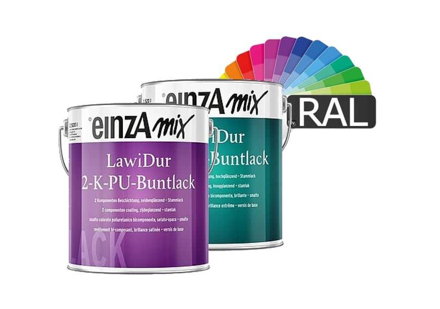 einzA mix LawiDur 2-K-PU-Buntlack Stammlack RAL-Farben