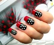 red black & white polka dots nail