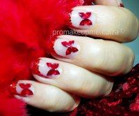 Red Glitter & Sequin Butterflies Nail Art  PROMAKEUPME