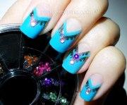 light blue & rhinestones nail art