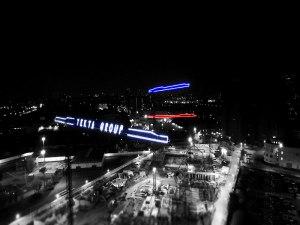 Подсветка башенных кранов ЖК Маяковский Текта Групп г. Москва