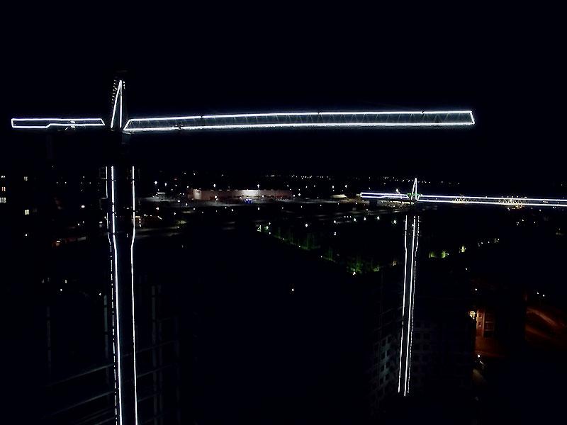 Контурная подсветка башенных кранов ЖК Норд г. Ростов-на-Дону