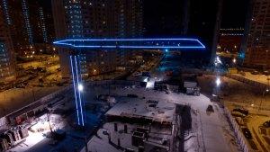 Контурная подсветка башенного крана в Москве