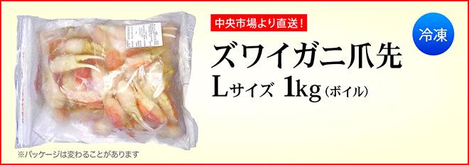 中央卸売市場 ズワイガニ 爪先 カニ爪 Lサイズ 1kg