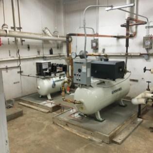 New Lab air compressor and vac pump bldg 15