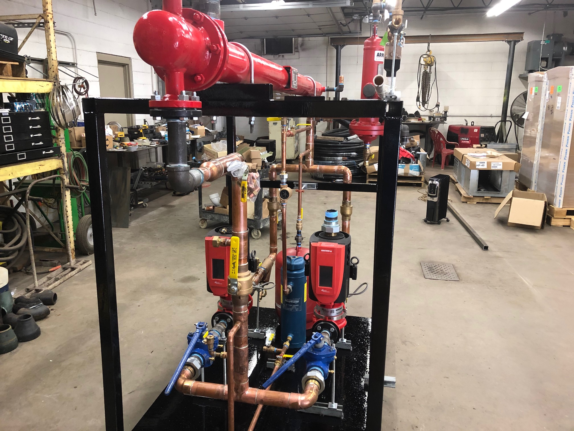 Steam to heating hot water skid made by Pro-Mechanical