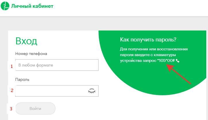 在Megafon网站上登录到您的个人帐户