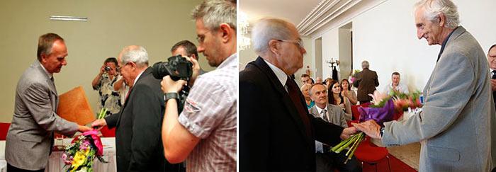 Na ľavej fotografii (foto P. Porubčan) prof. Mistrík, na pravej fotografii PaedDr. Šabo pri preberaní ocenení.