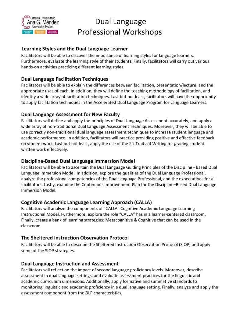 "Dual Language Instruction"" Workshops Provided By Ana G Méndez"