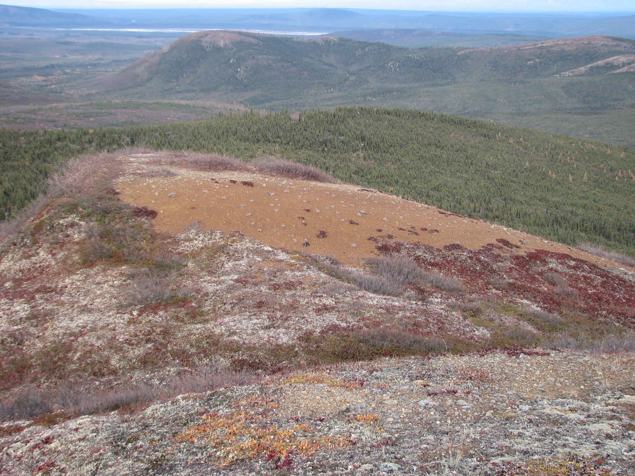 Yukon: Land with visible gossan containing silver, led, zinc, and manganese.