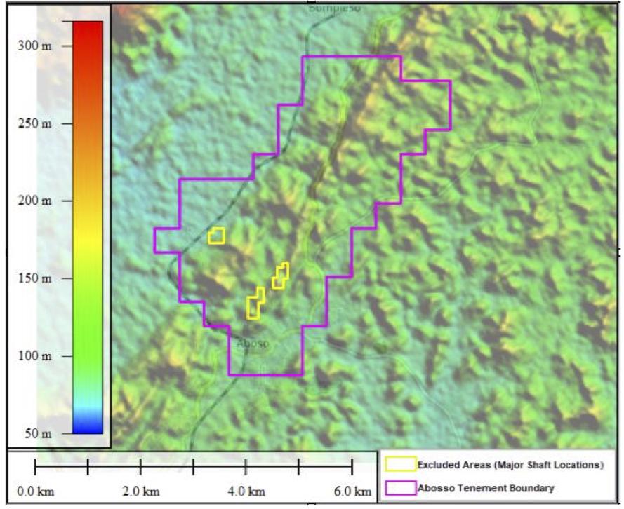 Project topography highlighting general NE-SW trending range