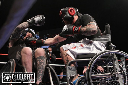 wheelchair fight used herman miller office chairs mma hits the u k to mixed reaction between mark zupan and jason ellis duct taped his chair photo courtesy of mstracylee com