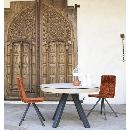 table fixe extensible ceramique epoxy chrome bois promo discount round sol red cancio discalsa kuydisen pure design mobliberica