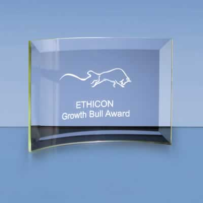 The stylish jade glass bevelled crescent is an ideal inexpensive recognition award.