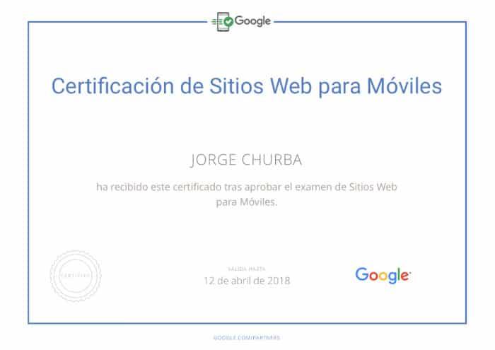 Experto en web movil certificado por Google