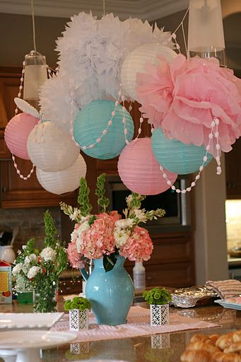 Tissue flowers and paper lanterns design ideas