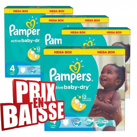 Couches Pampers Active Baby Dry Taille 4 En Solde 290