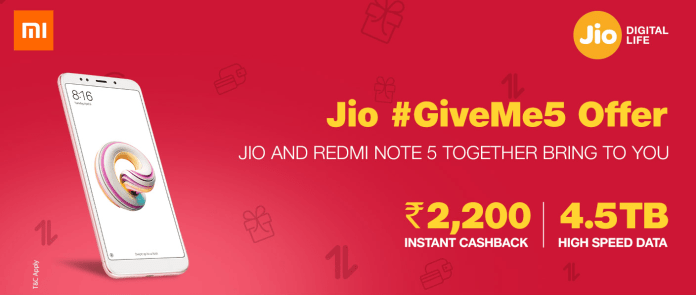 Redmi Note 5 Pro Jio Cashback Offer - Get 4.5 TB Free Data