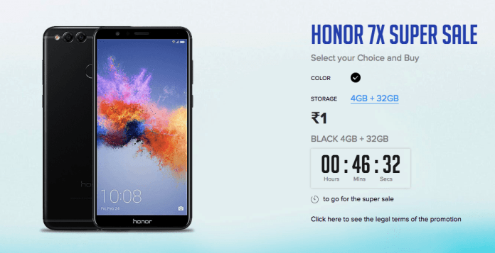 Honor 7x Smartphone Super Sale just at Rs 1 only