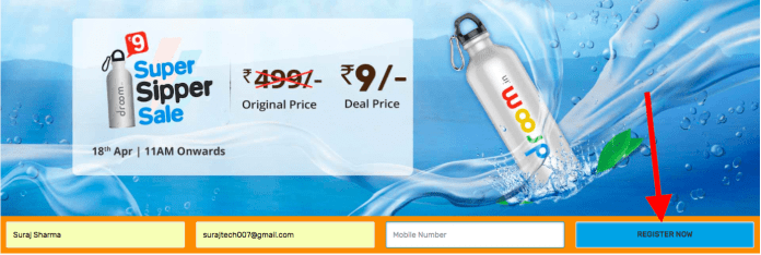 Trick to buy Droom Super Sipper Easily from Flash Sale