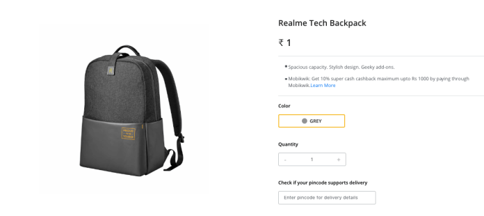 Realme ₹1 Flash Sale- Get Tech Backpack In Just ₹1