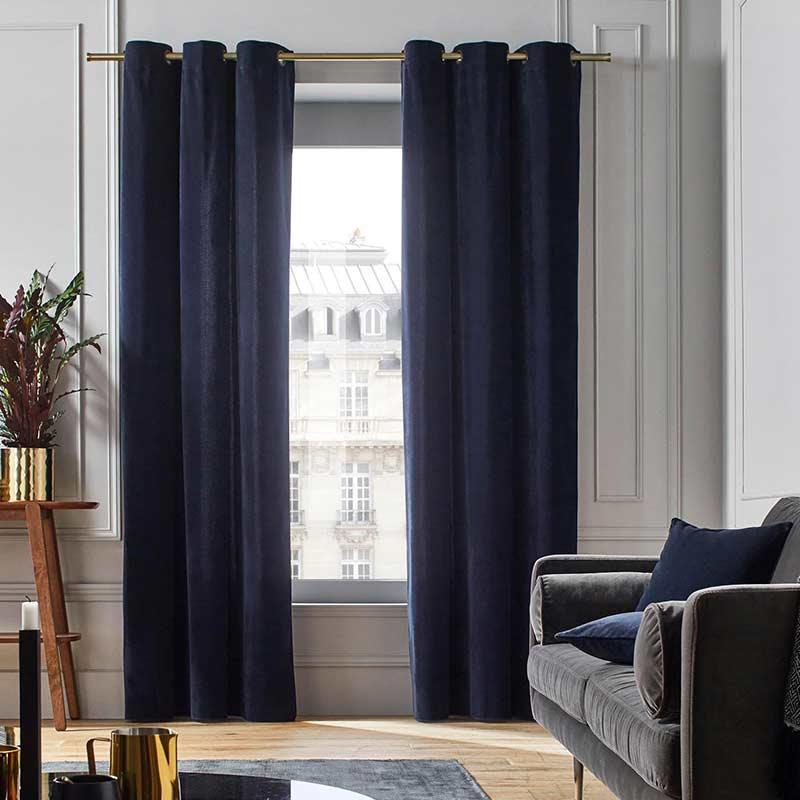 rideau velours bleu marine 3m 2 8m