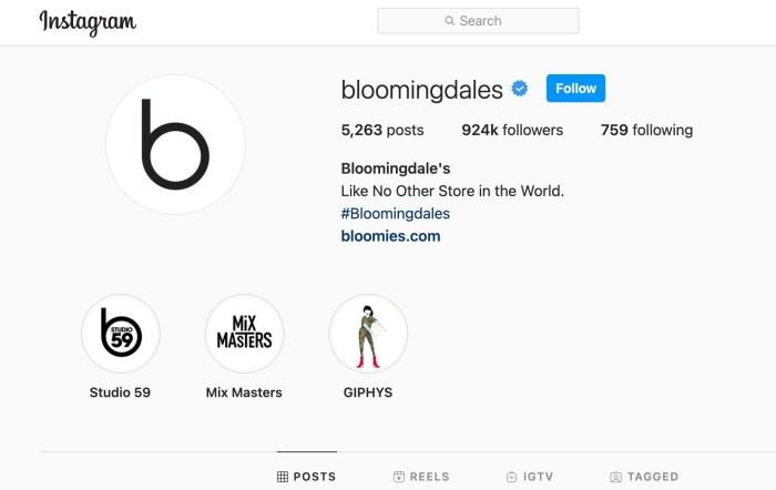 Bloomingdales instagram case