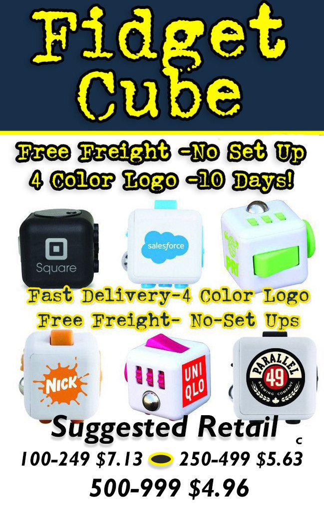 fidget cube promotional product and tradeshow giveaway.